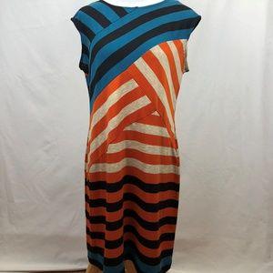 ALYX Striped Orange Black Sheath Dress Size 14